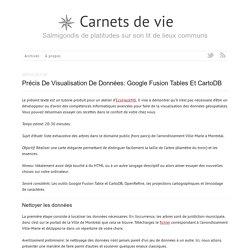 Précis de visualisation de données: Google Fusion Tables et CartoDB - Carnets de vie