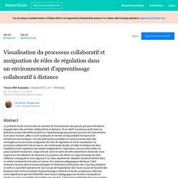 Visualisation du processus collaboratif et assignation de rôles de régulation dans un environnement d'apprentissage collaboratif à distance