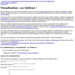 Visualisation : au Tableau !