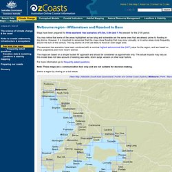 OzCoasts Climate change: Visualising sea-level rise - Melbourne region - Williamstown and Rosebud to Bass