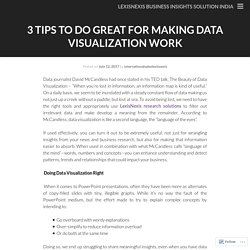 3 Tips to Do Great for Making Data Visualization Work