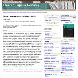Digital visualization as a scholarly activity