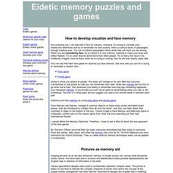 Visualize memory training (eidetic memory training)