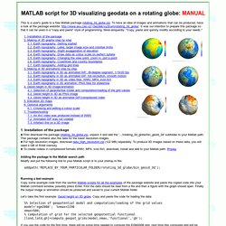 MATLAB script for 3D visualizing geodata on a rotating globe: manual