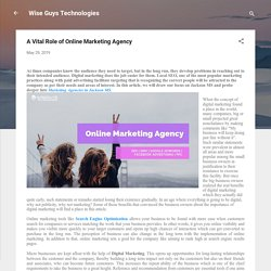 A Vital Role of Online Marketing Agency