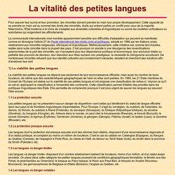 La vitalité des petites langues