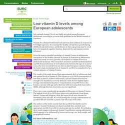 EUFIC - Low vitamin D levels among European adolescents