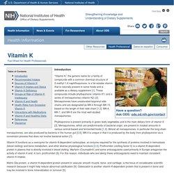 Vitamin K — Health Professional Fact Sheet