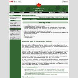 Santé Canada - Dossier vitamines