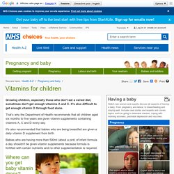 Vitamins for children - Pregnancy and baby guide