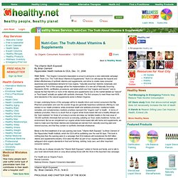 Nutri-Con: The Truth About Vitamins & Supplements - Healthy News Service