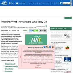 What are vitamins? What vitamins do I need?