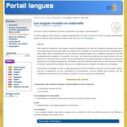 Les langues vivantes en maternelle