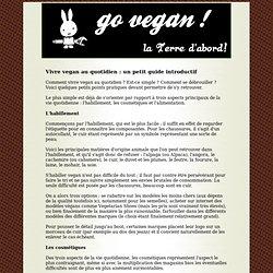 Vivre vegan au quotidien: un petit guide introductif