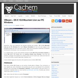 VMware – OS X 10.8 Mountain Lion sur PC Windows
