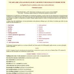 Vocabulaire anglais-français de l'architecture en pierre sèche - Christian Lassure