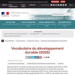 Vocabulaire du développement durable (2015) - Ministère de la Culture