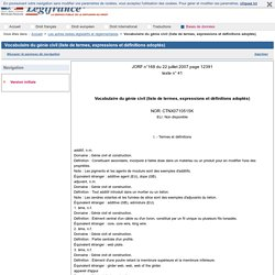 Vocabulaire du génie civil (liste de termes, expressions et définitions adoptés)