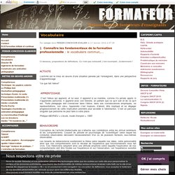Vocabulaire - FORMATEUR