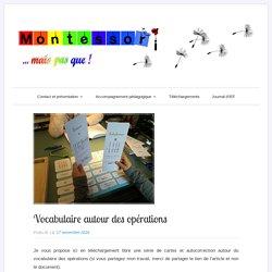 Vocabulaire autour des opérations – Montessori … mais pas que !