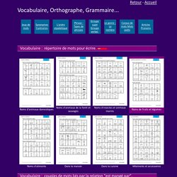 Exercices vocabulaire, orthographe, grammaire, GS CP CE1