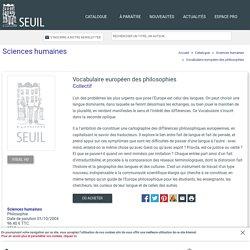 Vocabulaire européen des philosophies, Collectif, Sciences humaines
