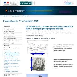 Le vocabulaire à connaître pour l'analyse d'extraits de films et d'images (photographies, affiches)du dossier «L'armistice du 11 novembre 1918»-Pour mémoire-CNDP