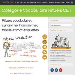 Vocabulaire Rituels CE1
