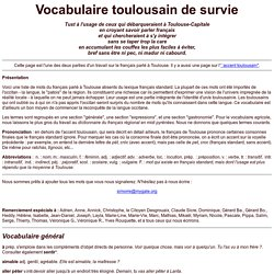 Vocabulaire toulousain de survie