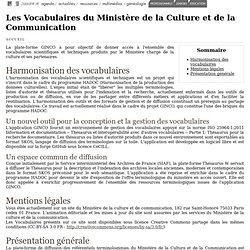 Les Vocabulaires du Ministère de la Culture et de la Communication
