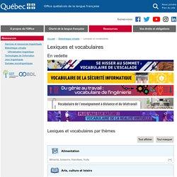 Lexiques et vocabulaires de l'Office québécois de la langue française