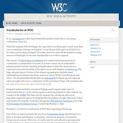 Vocabularies at W3C