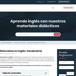 Naturaleza en Inglés: Vocabulario y materiales didácticos Ringteacher.com