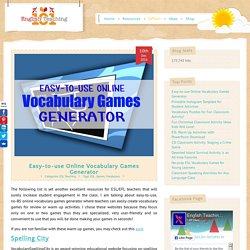 Easy-to-use Online Vocabulary Games Generator