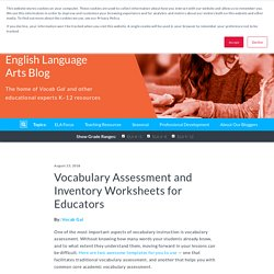 Vocabulary Assessment and Inventory Worksheets for Educators