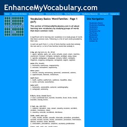 Vocabulary Basics: Word Families - Page 1 (A-F)