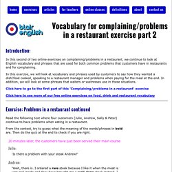 Vocabulary for complaining/problems in a restaurant exercise part 2