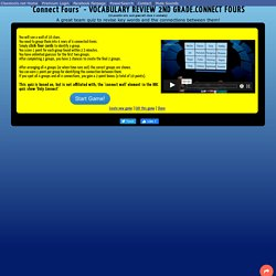"""""""VOCABULARY REVIEW 2ND GRADE.CONNECT FOURS"""": Connect Fours Revision Quiz"""