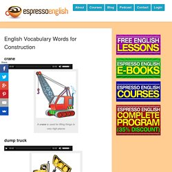 English Vocabulary Words for Construction