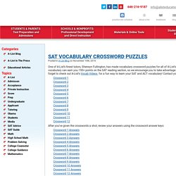 SAT Vocabulary Crossword Puzzles - A-List Education