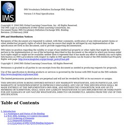 IMS Vocabulary Definition Exchange XML Binding