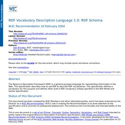 RDF Vocabulary Description Language 1.0: RDF Schema
