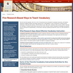 Five Research-Based Ways to Teach Vocabulary