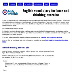 English vocabulary for beer and drinking exercise