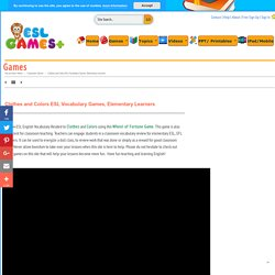 Clothes and Colors ESL Vocabulary Games, Elementary Learners Game