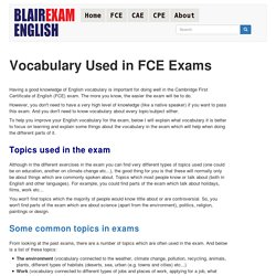 Vocabulary Used in FCE Exams