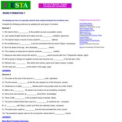 Fiesta ESL - Vocabulary Exercises - Word Formation (1)