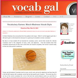 Vocabulary Games: March Madness Vocab Style