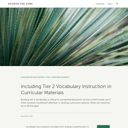 Including Tier 2 Vocabulary Instruction in Curricular Materials