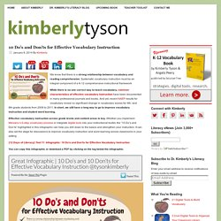 10 Do's and Don'ts for Effective Vocabulary Instruction l Dr. Kimberly's Literacy Blog